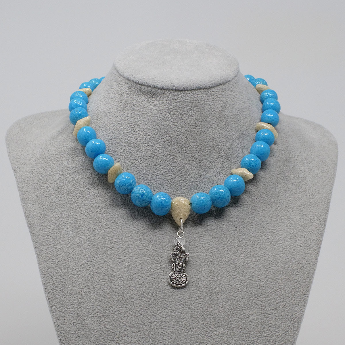 "Sekhmet Necklace in Silver with ""Egyptian Sky"" & ""Wadi Sand"" Faience Beads - ""Ouroborus Collection"""