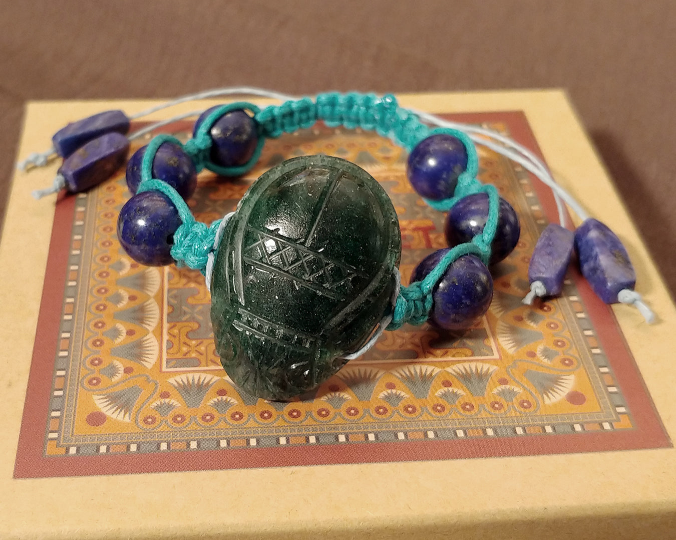 Men and Women's Ancient Egyptian Adjustable Lapis Lazuli Macrame Bracelet with Hand Carved Man Made Aventurine Scarab
