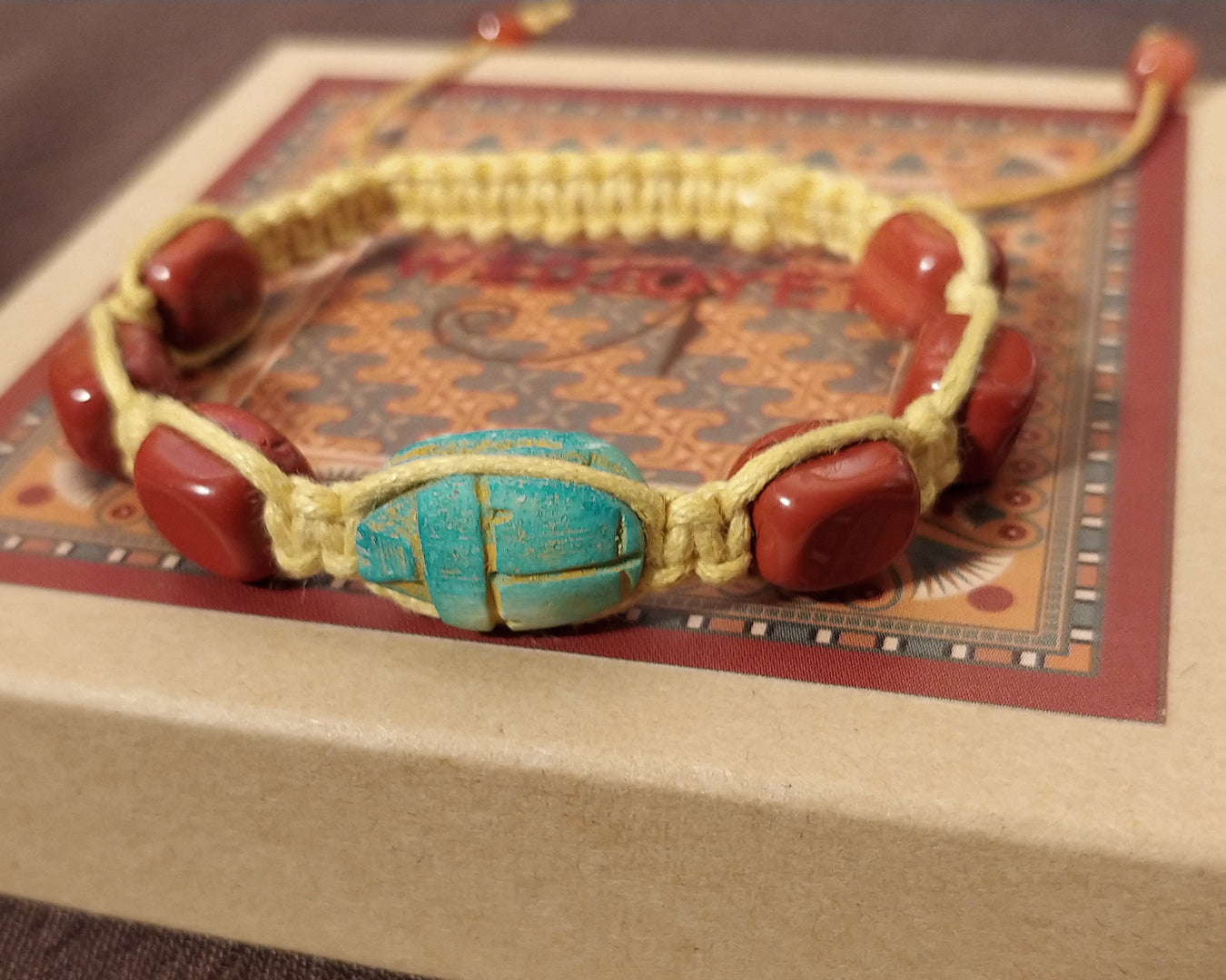 Men and Women's Ancient Egyptian Adjustable Red Jasper Nugget Macrame Bracelet with Hand Carved Scarab