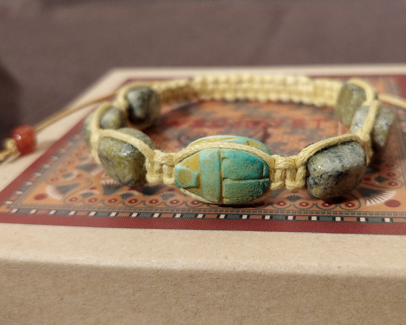 Men and Women's Ancient Egyptian Adjustable Serpentine Quartz Nugget Macrame Bracelet with Hand Carved Scarab