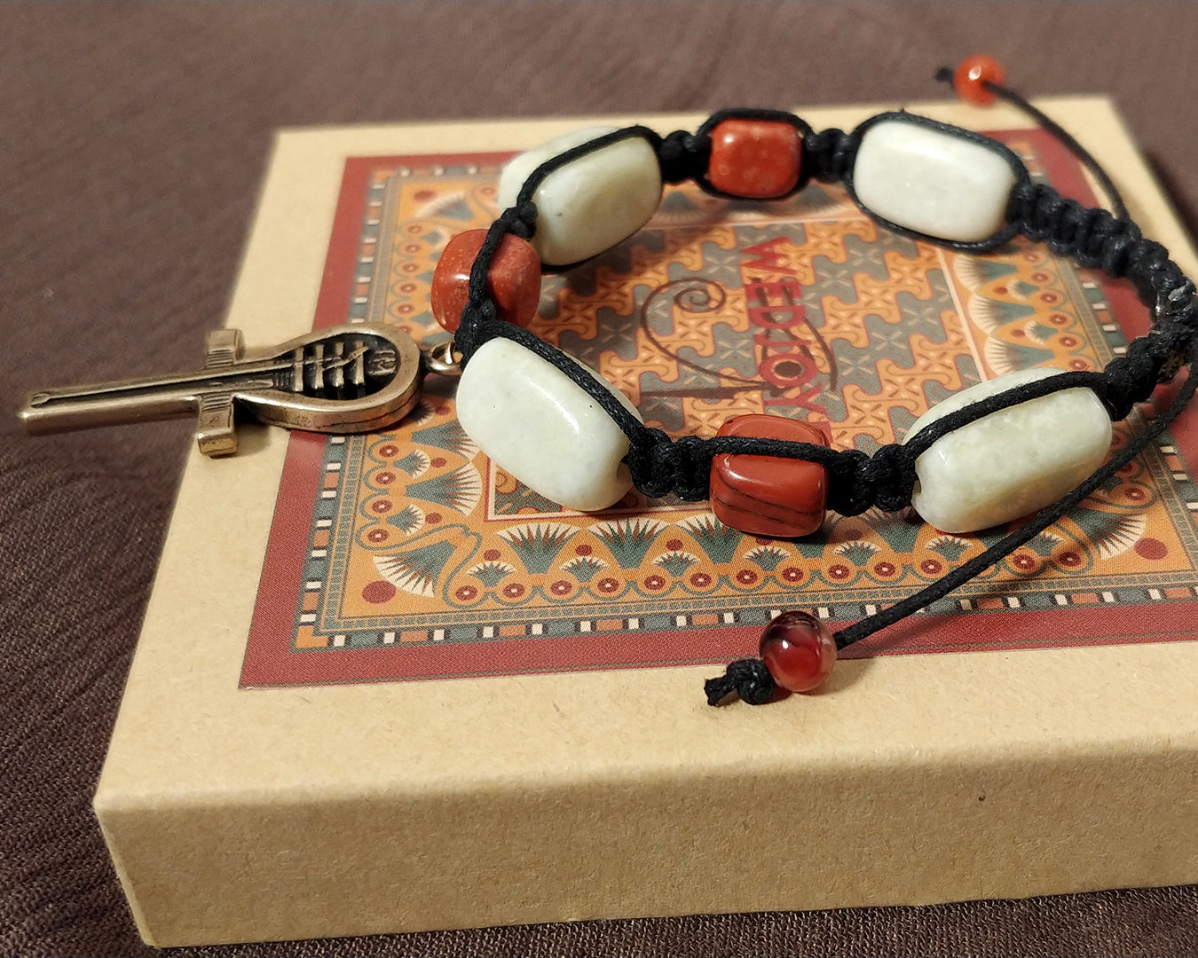 Men and Women's Ancient Egyptian Adjustable Tumbled Peridot and Red Jasper Nugget Macrame Bracelet with Custom Designed Antique Brass Ankh.