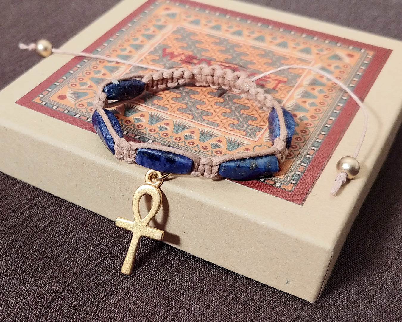 Men and Women's Ancient Egyptian Adjustable Lapis Lazuli Tube Bead Macrame Bracelet with Gold Plated Ankh