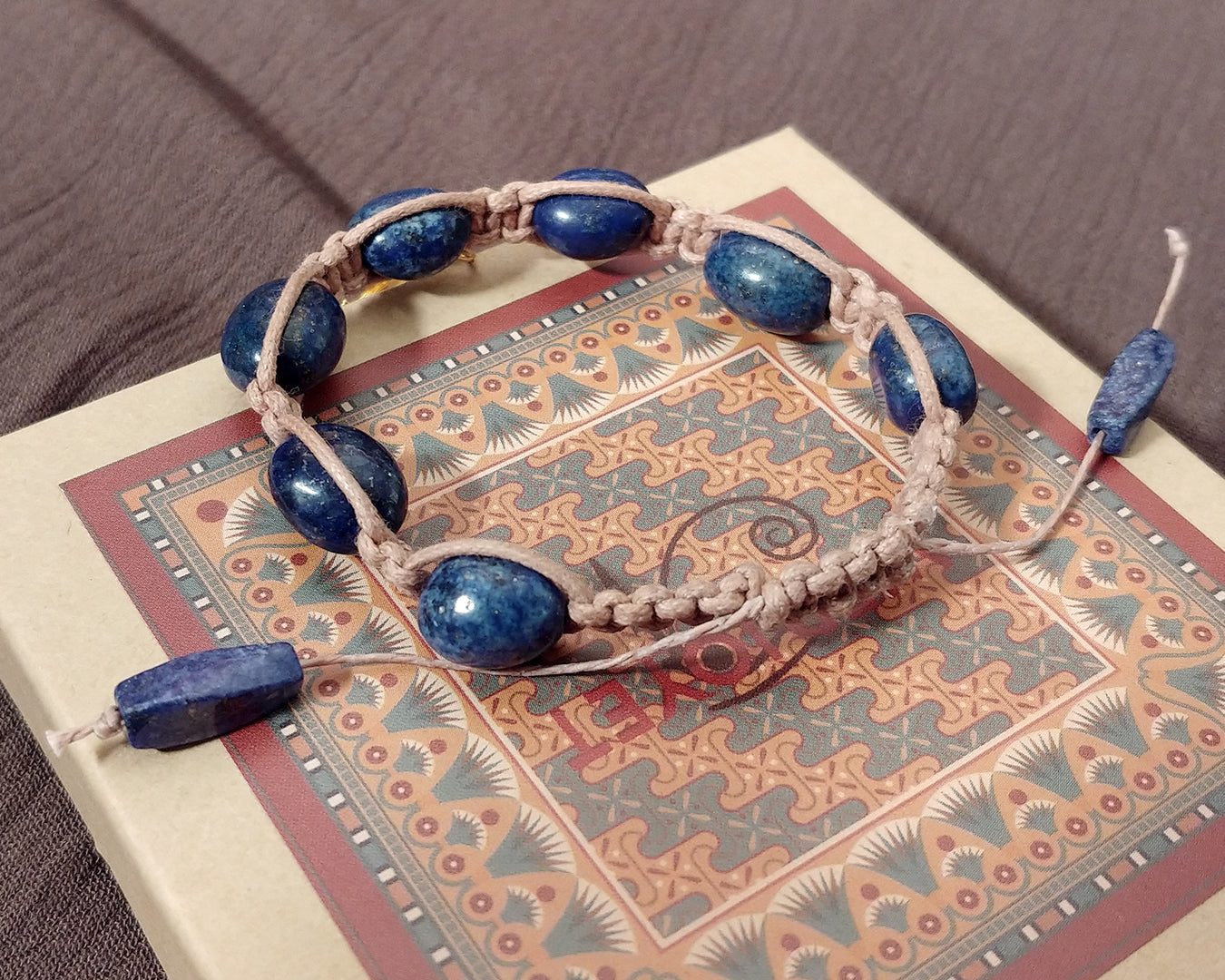 Men and Women's Ancient Egyptian Adjustable Lapis Lazuli Pebble Macrame Bracelet with Ankh dipped in Gold