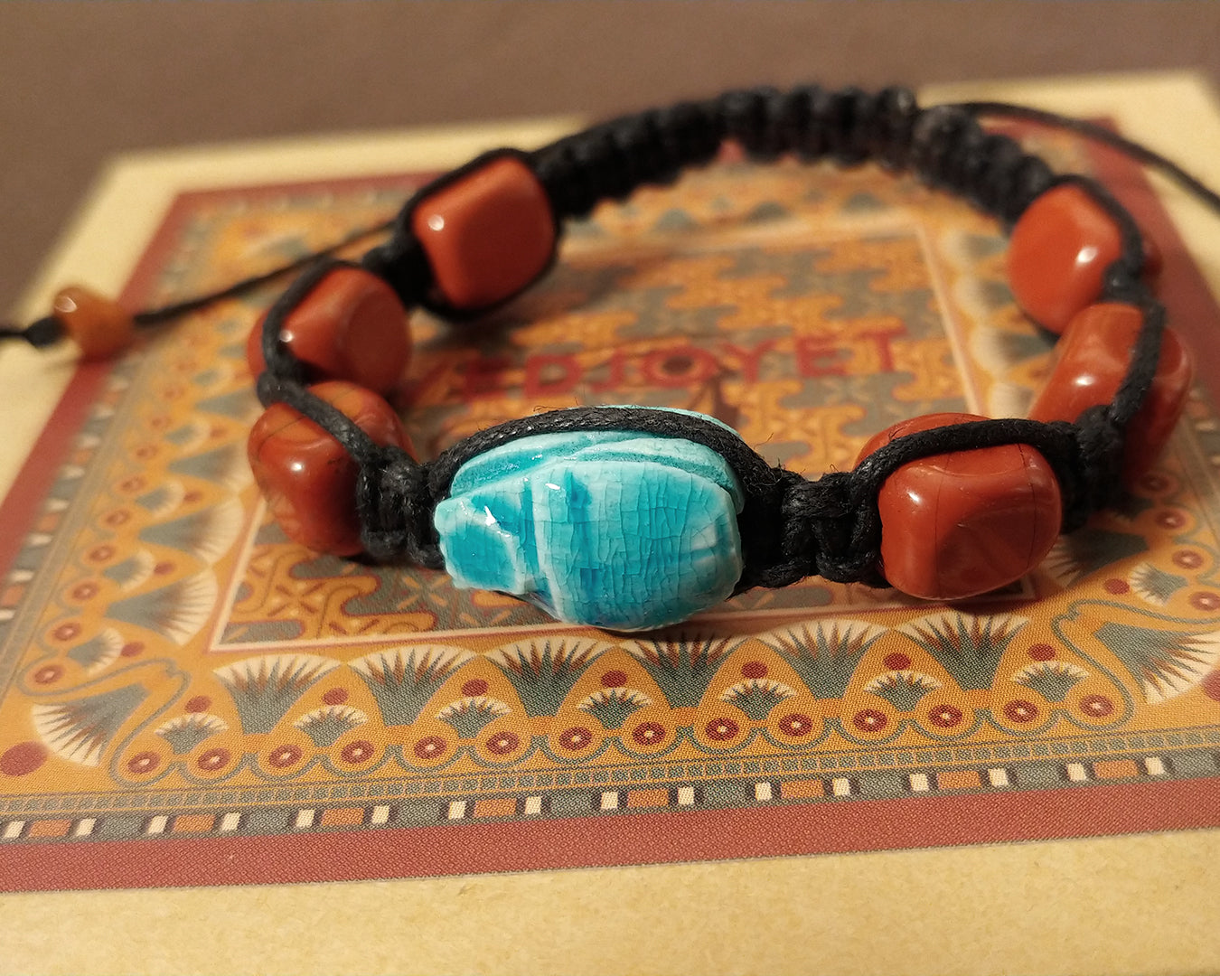 Men and Women's Ancient Egyptian Adjustable Red Jasper Nugget Macramé Bracelet with Hand Carved Scarab