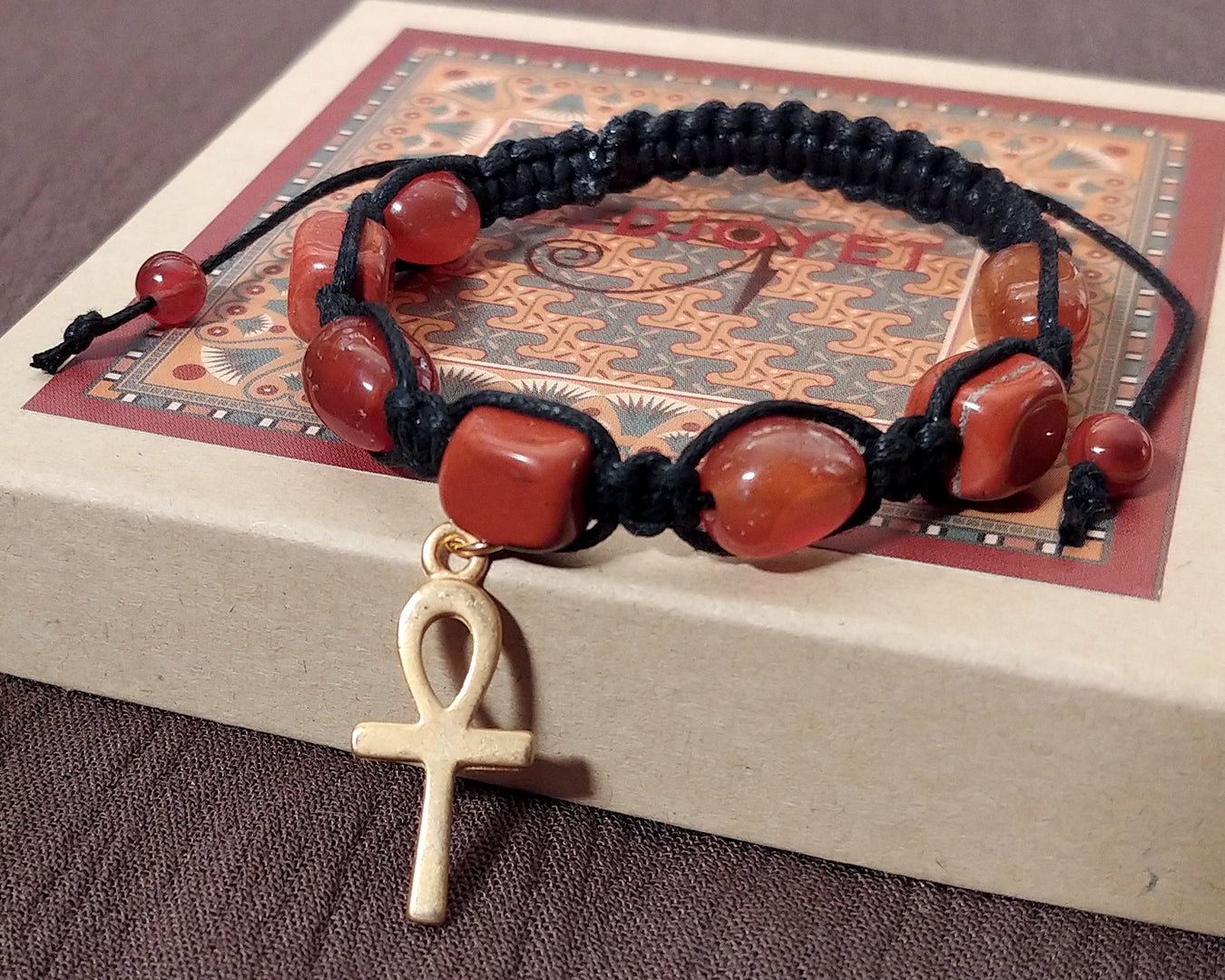 Men and Women's Ancient Egyptian Adjustable Red Jasper Nugget Macrame Bracelet with Gold Plated Ankh
