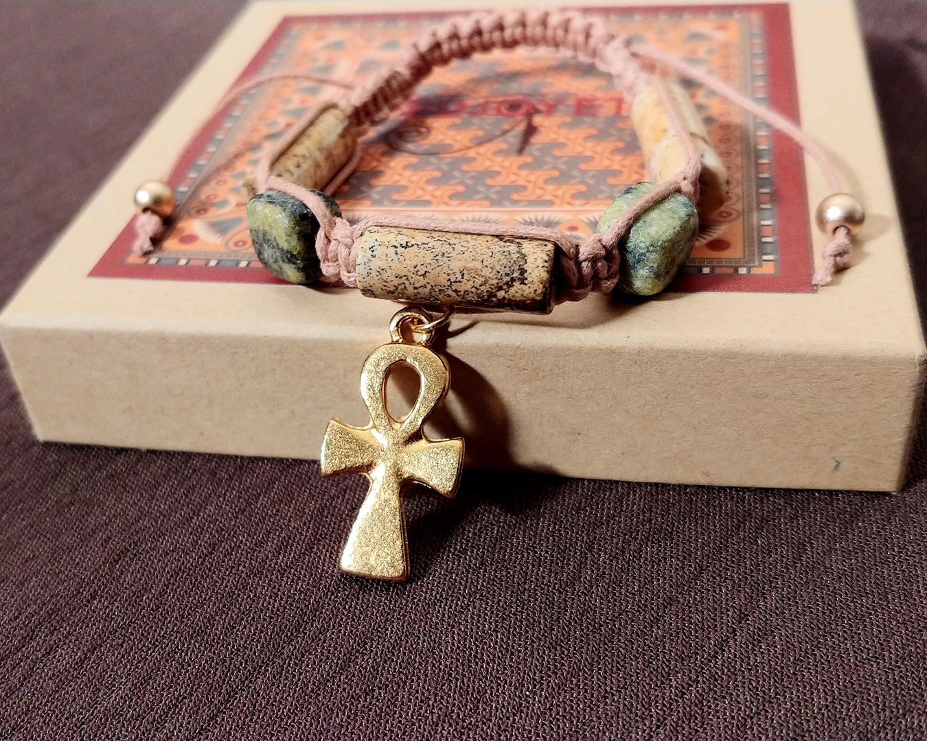 Men and Women's Ancient Egyptian Adjustable Jasper and Serpentine Macramé Bracelet with Ankh Dipped in Gold
