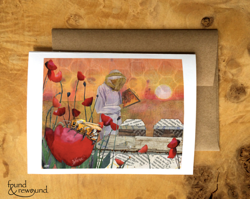 Honey Bee Sunrise Card