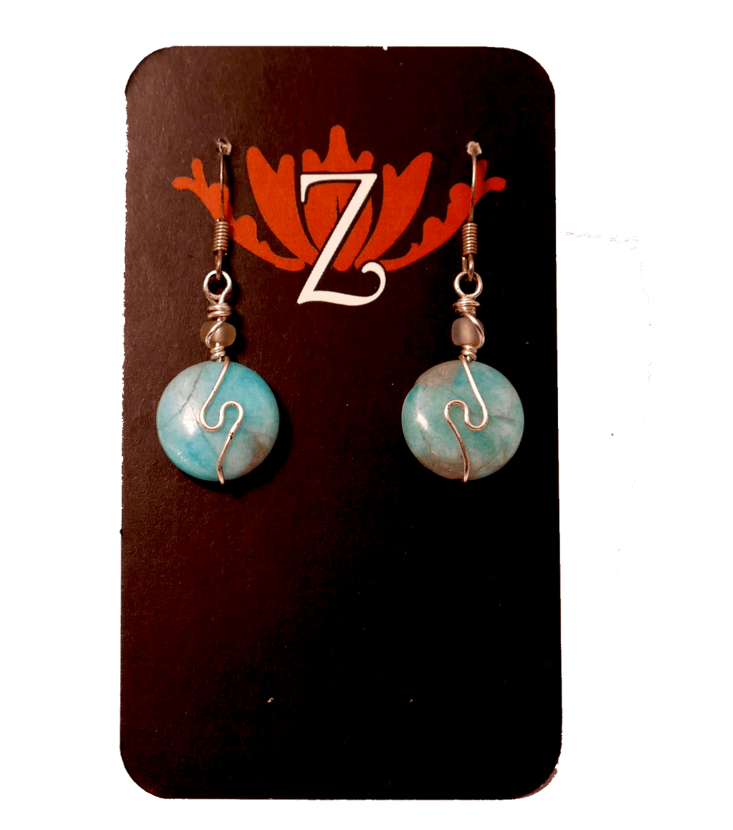Zen Lotus Earrings Amazonite