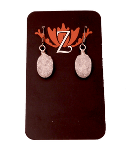Zen Lotus Earrings Druzy Quartz