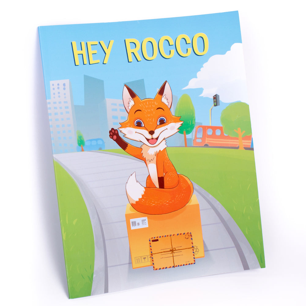 A printed copy of the Hey Rocco storybook