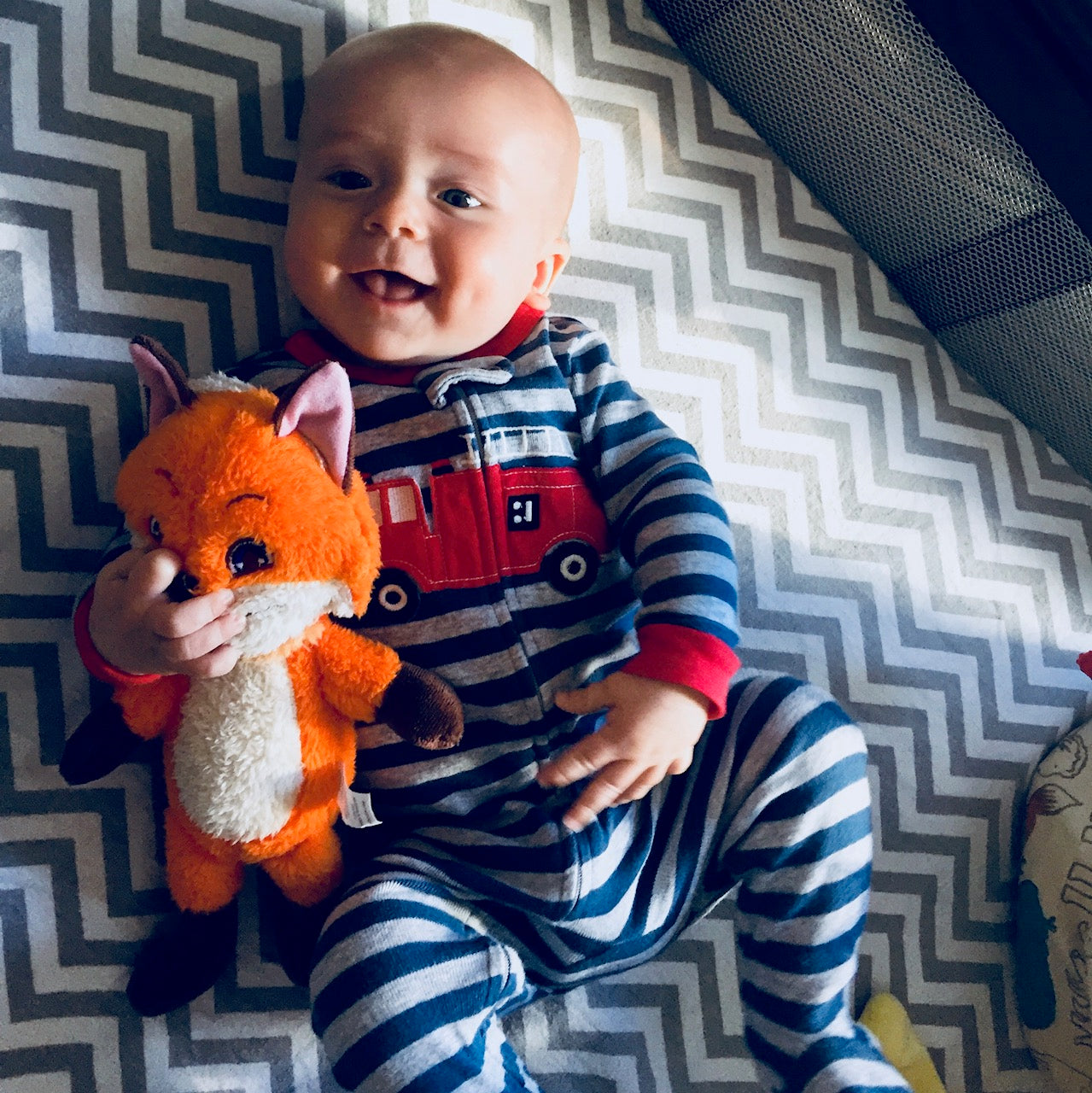 A baby boy holding a plush Rocco and smiling at the camera