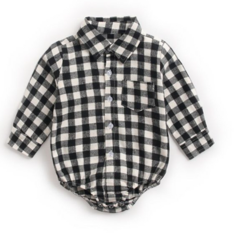 Black and White Buffalo Check Button Down