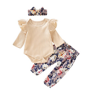 Fall Floral Paper Bag Pants Set