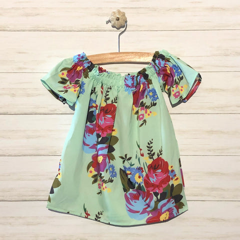 Tropical Off the Shoulder Dress