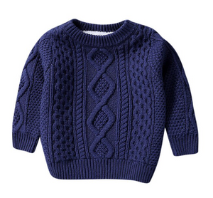 Brandon's Blue Sherpa Lined Knit Sweater