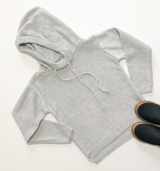 Gray Knit Hooded Sweatshirt