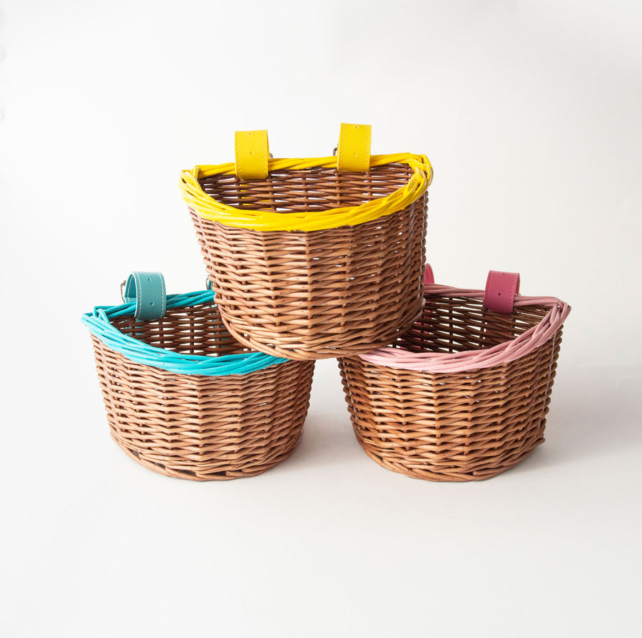yellow blue and pink premium wicker basket with hand painted trim and matching belt with buckle attachment