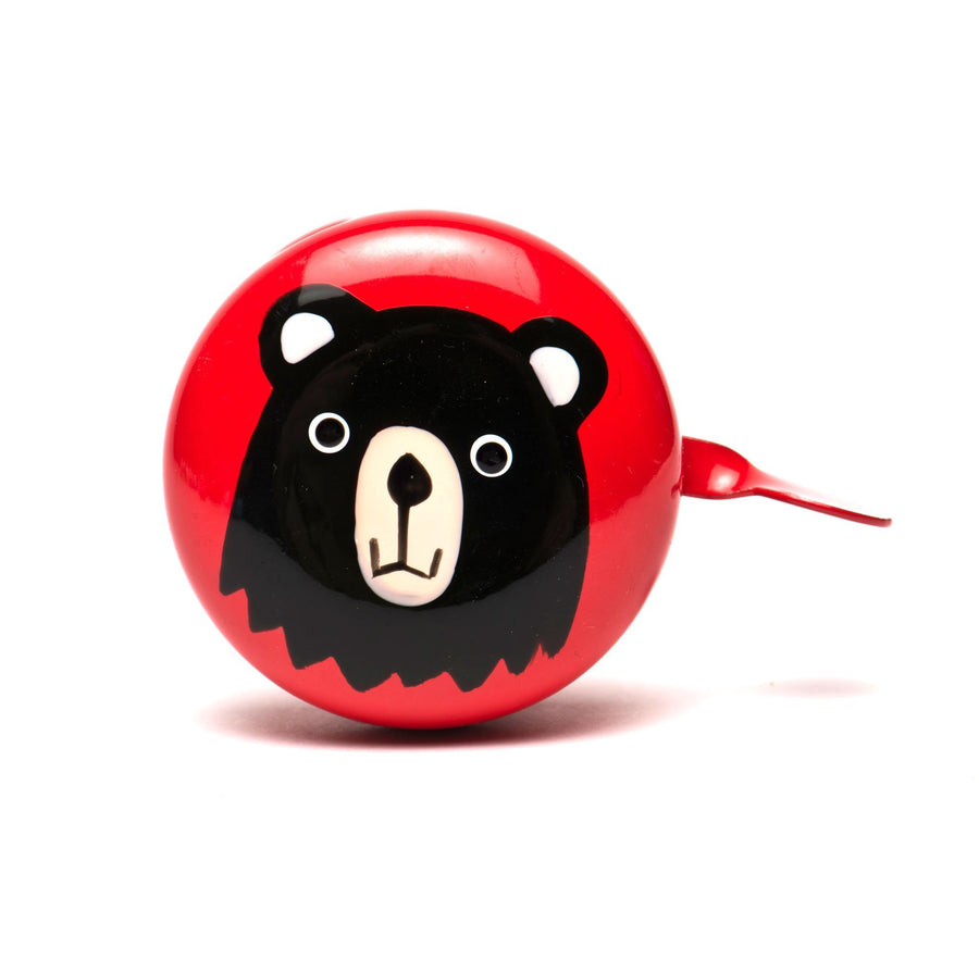premium hand painted black bear on red bicycle bell bike bell