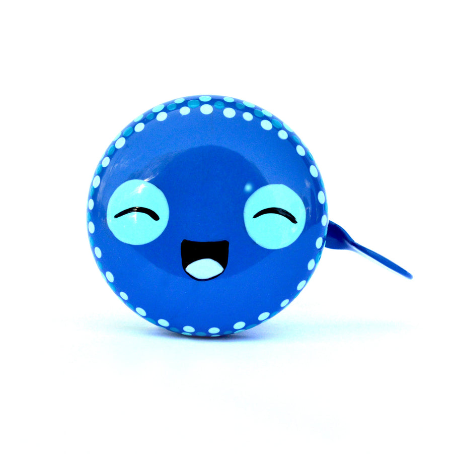 premium cute smiling face hand painted on blue bicycle bell