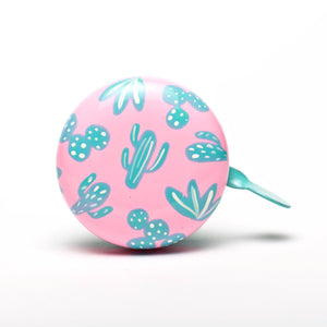 premium green cactus patter hand painted on pastel pink bicycle bell