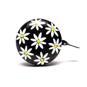 premium white yellow daisy hand painted on black bicycle bell