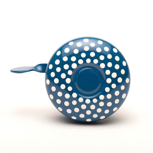 premium white spotted pattern hand painted on blue bicycle bell