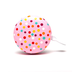 premium colourful sprinkles hand painted on pastel pink bicycle bell