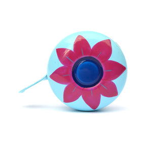 premium dark pink flower hand painted on pale blue bicycle bell