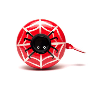 premium black spider on silver web hand painted on red bicycle bell