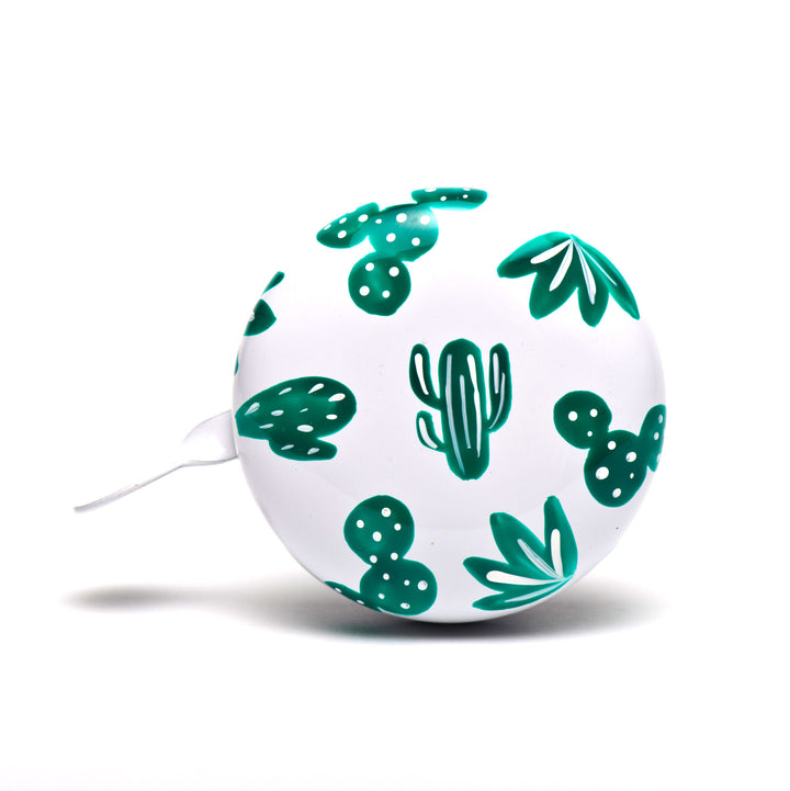 premium green cactus pattern hand painted on white bicycle bell