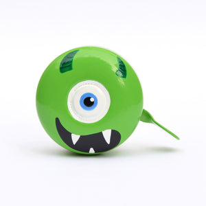 premium one eyed monster face hand painted on light green bicycle bell