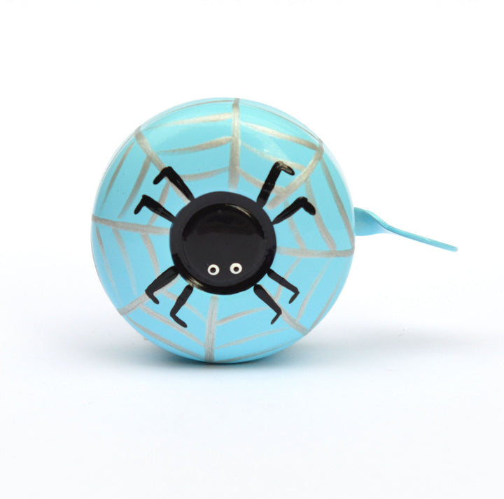 premium black spider on silver web hand painted on light blue bicycle bell