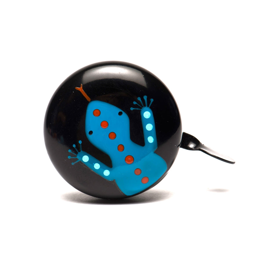 premium blue spotted lizard hand painted on black bicycle bell