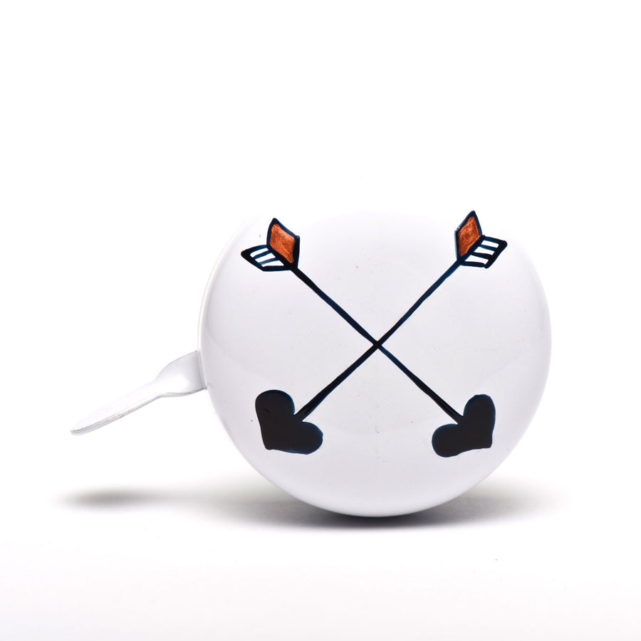 premium crossed arrows hand painted on white bicycle bell