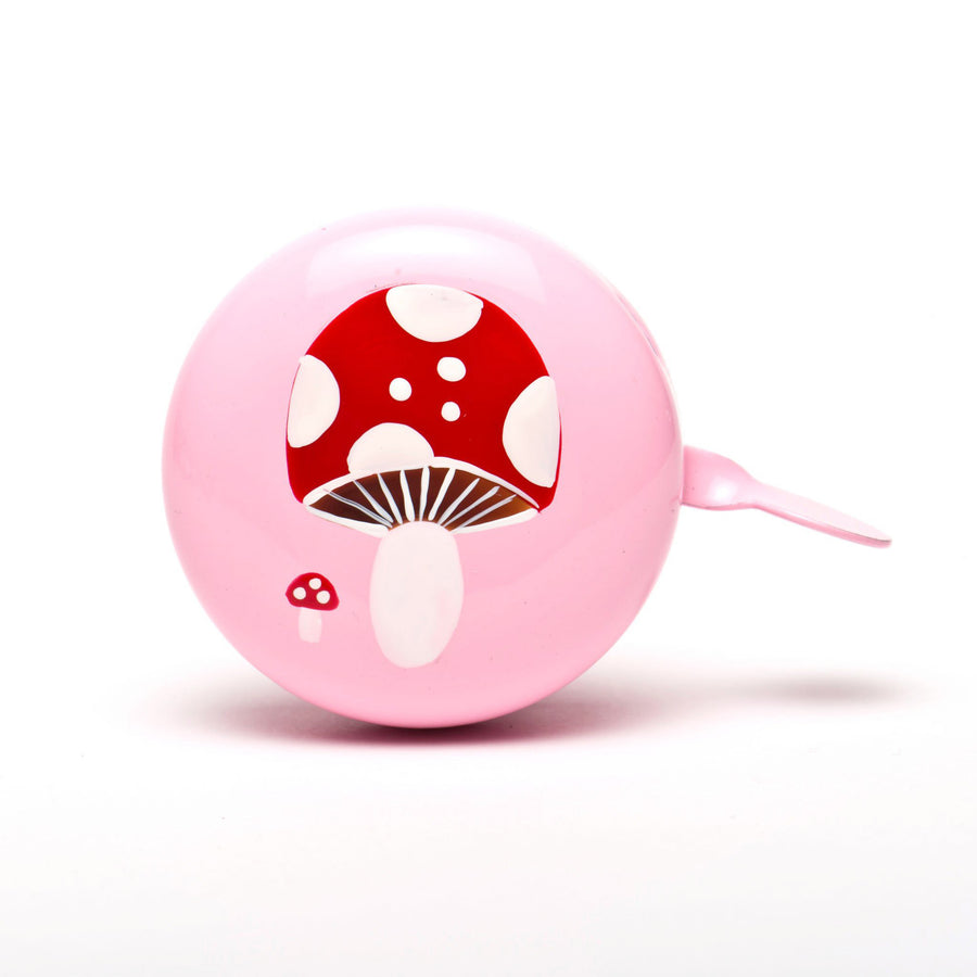 premium red mushroom hand painted on pale pink bicycle bell