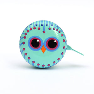 premium cute owl face hand painted on peppermint bicycle bell