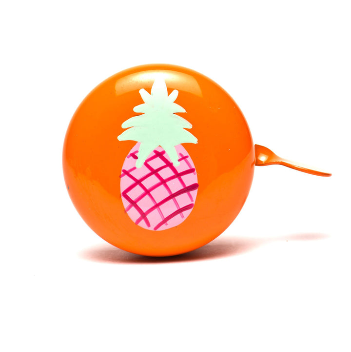 premium pink pineappe hand painted on orange bicycle bell