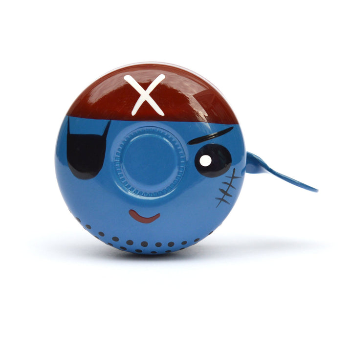 premium eye patch pirate face hand painted on blue bicycle bell