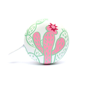 premium pink cactus with flower hand painted on white bicycle bell
