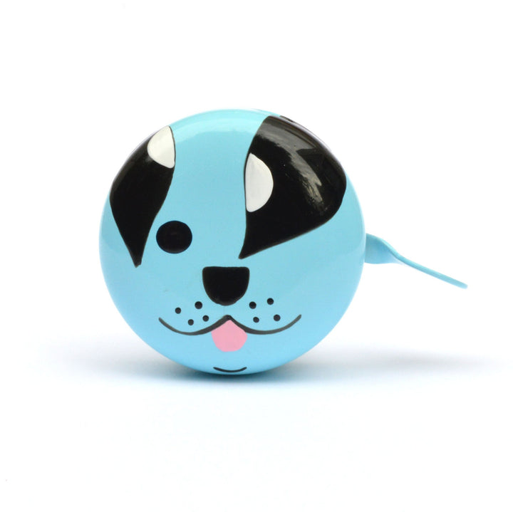 premium cute puppy face hand painted on pale blue bicycle bell