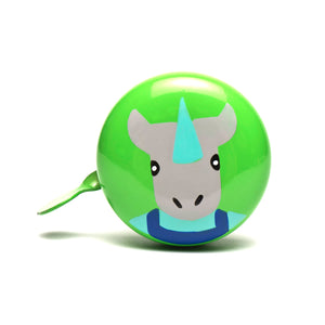 premium cute grey rhino hand painted on light green bicycle bell