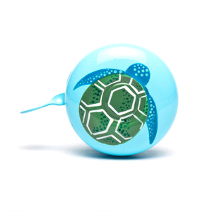 premium green turtle hand painted on pale blue bicycle bell