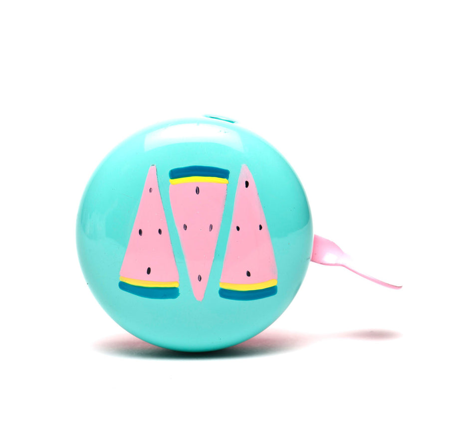 premium pink green watermelon hand painted on peppermint bicycle bell