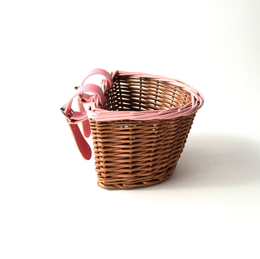 premium kids bike scooter wicker basket with hand painted pink trim and belt with buckle attachment