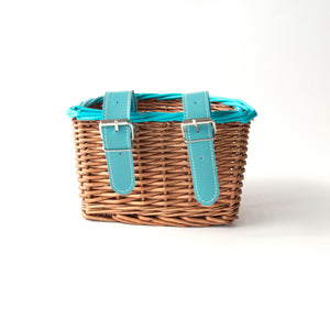 premium kids bike scooter wicker basket with hand painted acqua trim and matching acqua belt with buckle attachment