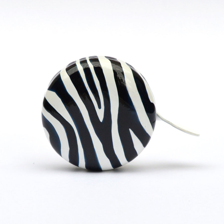 premium zebra pattern hand painted on black bicycle bell