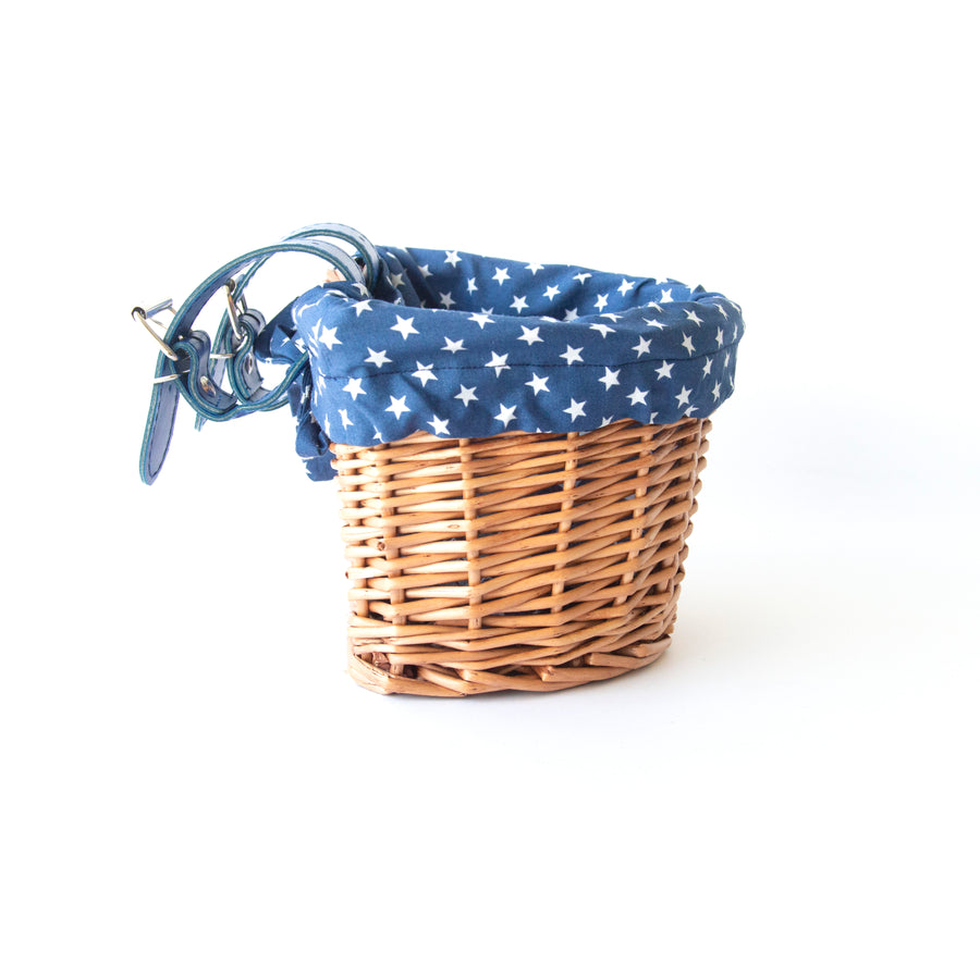 KIDS WICKER BIKE SCOOTER BASKET WITH BLUE STAR LINER