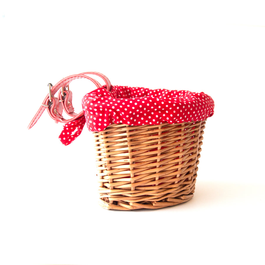 Beep Kids Wicker Bike / Scooter Basket with Red Dotted Liner