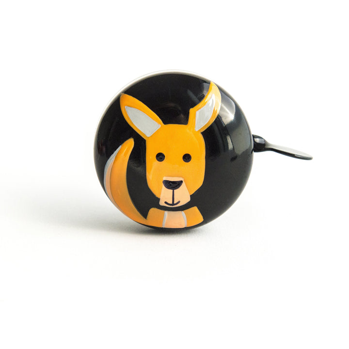 premium orange kangaroo hand painted on black bicycle bell