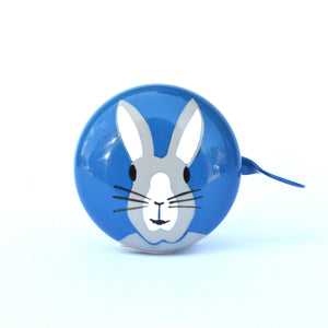 premium grey bunny rabbit hand painted on blue bicycle bell